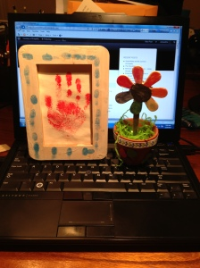 photo computer with kid art